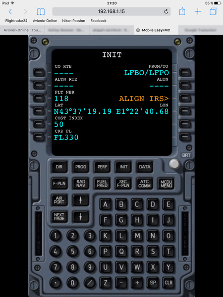 Airbus MCDU on iPad
